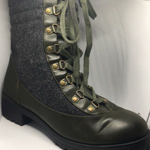 OLIVE GREEN AND CHARCOAL COMBAT BOOTS.